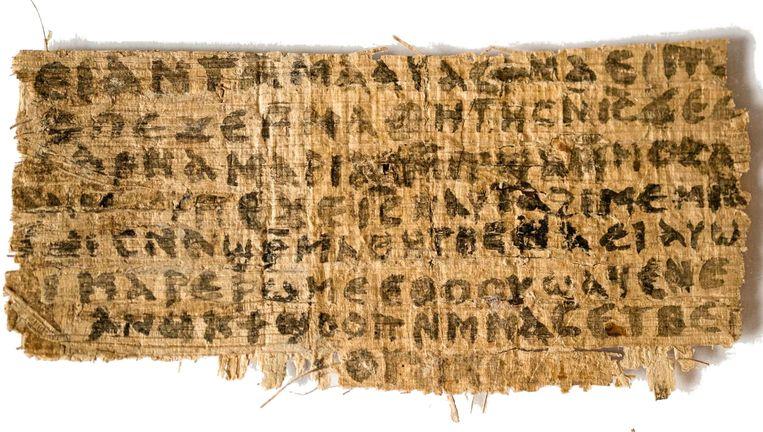 Het papyrusfragment, het 'Evangelie van de vrouw van Jezus'. Beeld Harvard Divinity School