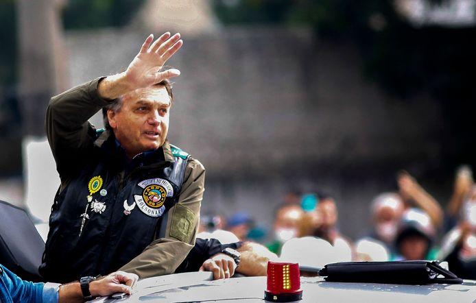 """Le président brésilien Jair Bolsonaro lors du rassemblement """"Accélérons pour le Christ"""" à Sao Paulo."""