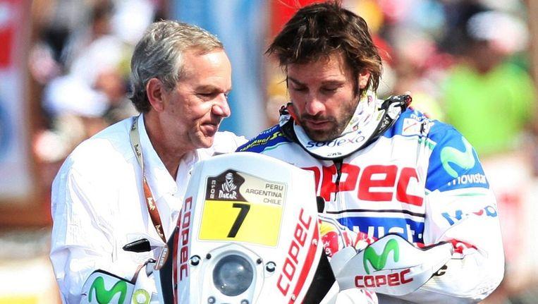 Francisco Lopez bij de start van de eerste etappe. Beeld EPA