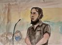 Salah Abdeslam in de rechtbank.
