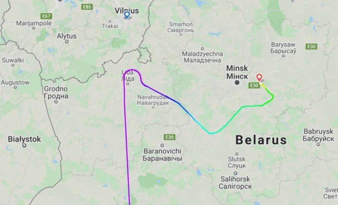 Het toestel was dichter bij Vilnius, de oorspronkelijke eindbestemming, dan bij Belarus.
