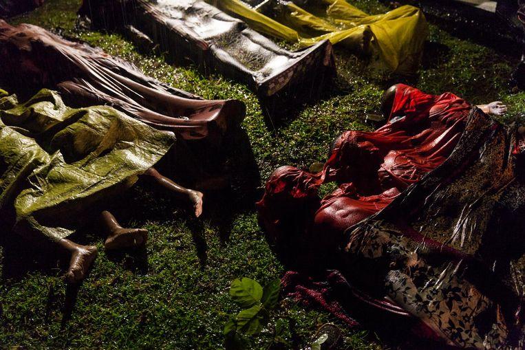 Rohingya's zijn omgekomen toen de boot waarmee ze wilden vluchten uit Myanmar omsloeg, nabij Cox's Bazar in Bangladesh Beeld Patrick Brown