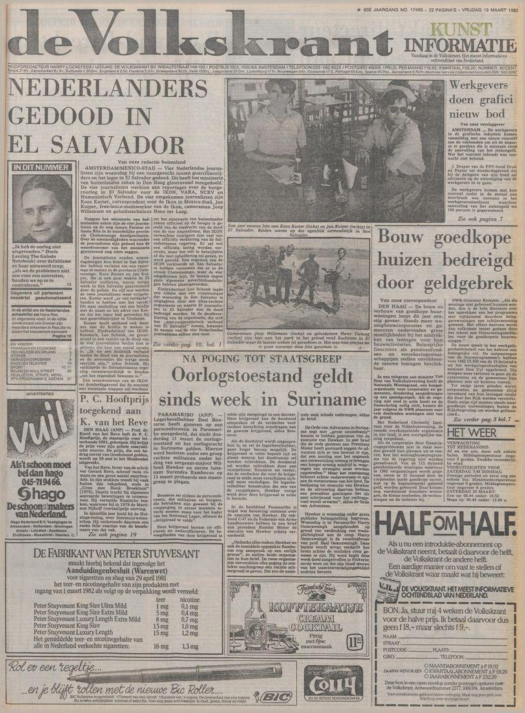 De Volkskrant van 19 maart 1982 Beeld de Volkskrant