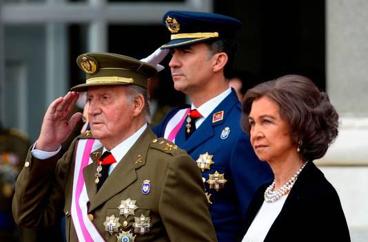 Juan Carlos, son épouse la reine Sofia et leur fils le roi Felipe VI