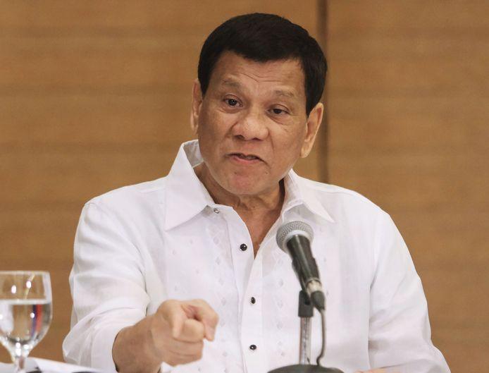 De Filipijnse president Rodrigo Duterte tijdens een persconferentie in Davao City.