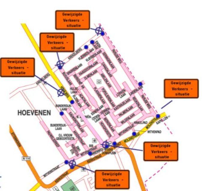 De nieuwe verkeerssituatie in de woonwijken van Hoevenen: er wordt een snelheidslimiet van 30 per uur ingevoerd