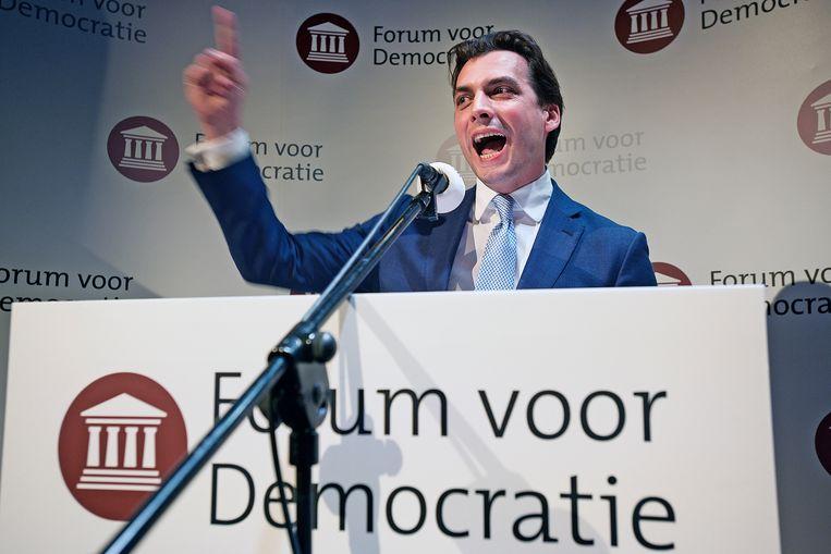 Thierry Baudet spreekt tot de aanhang van Forum voor Democratie na een historische overwinning bij de Provinciale Statenverkiezingen in 2019. Beeld Guus Dubbelman / de Volkskrant