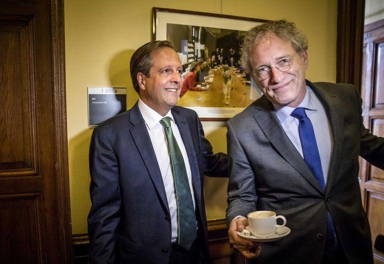 Alexander Pechtold en D66-senator Thom de Graaf. Beeld ANP