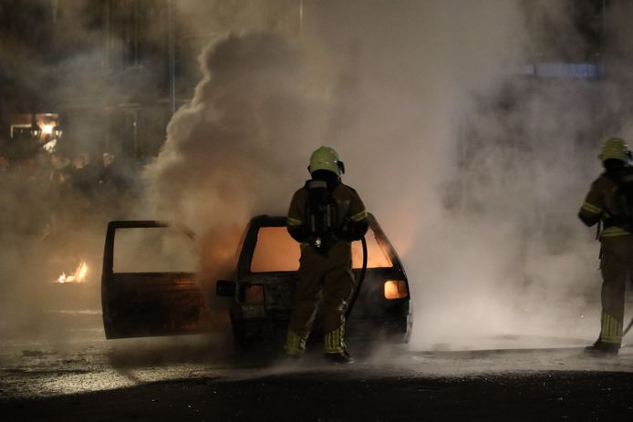 De brandweer was even aan het blussen, alvorens zij weer terugkeerde naar de kazerne.