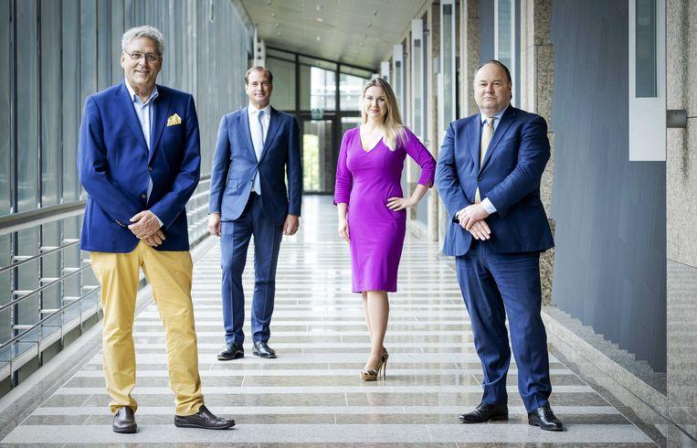 Henk Krol, Jeroen de Vries, Femke Merel van Kooten en Henk Otten, vastgelegd op 29 juni.  Beeld ANP