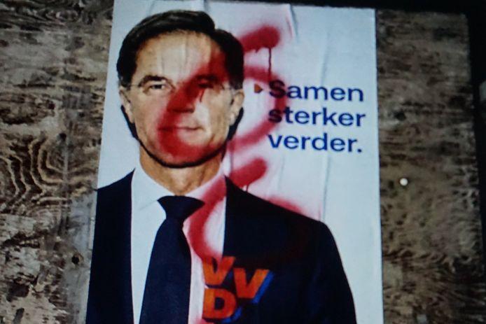 In Colijnsplaat werd het duivels getal 666 op de poster geschreven