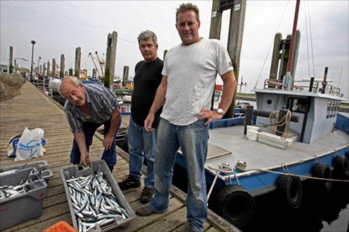 Cor van Dort houdt de schamele bak van een vangst ansjovis hoog. In het midden Henk van Schilt en rechts zoon Corné van Dort. foto Chris van Klinken