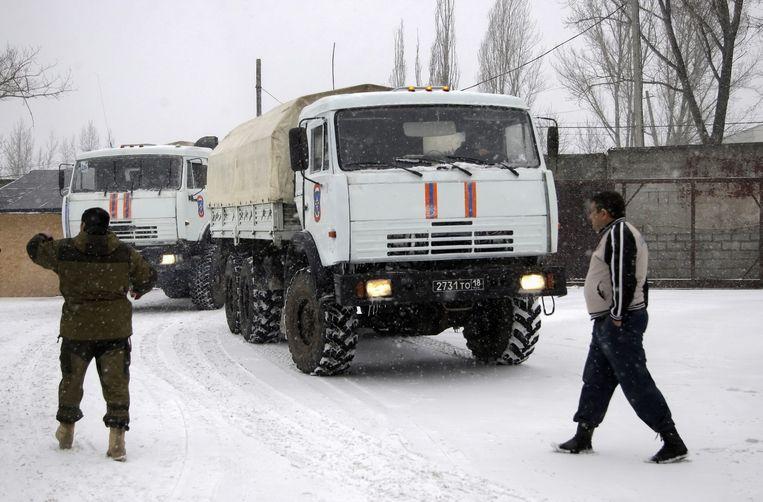 Een truck met hulpgoederen komt aan in Donetsk. Beeld epa