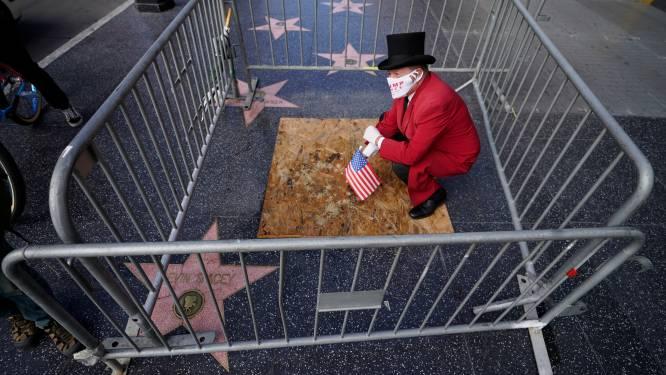 Walk of Fame-ster Trump bedekt en omringd met barricade