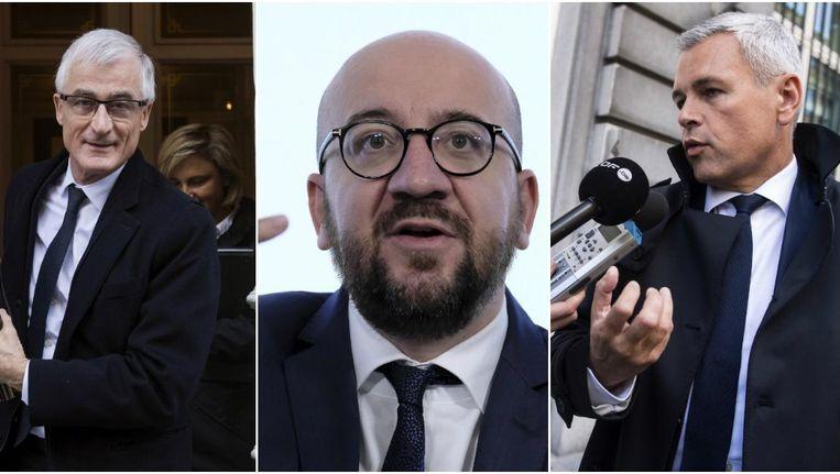 Vlaams minister-president Geert Bourgeois (N-VA), federaal premier Charles Michel (MR) en Waals begrotingsminister Christophe Lacroix (PS). Beeld Belga / Belga / Photo News