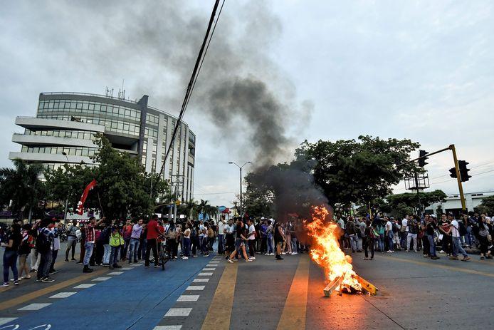 Betogers in Cali, Colombia (archiefbeeld 10 oktober 2019).