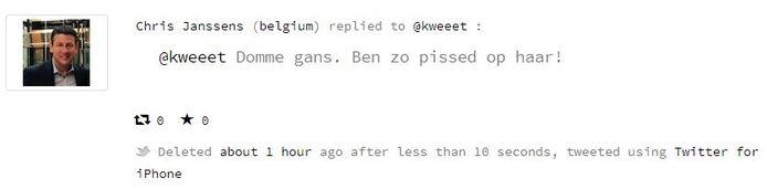 De gewiste tweet van Janssens.