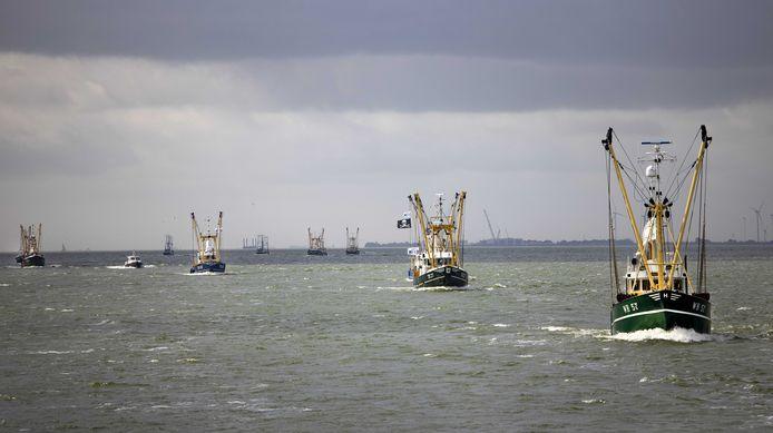 IJsselmeerkotters, garnalenkotters en Noordzeekotters varen in protest langs de Afsluitdijk. De vissers protesteren tegen windmolens die beslag leggen op hun viswateren.