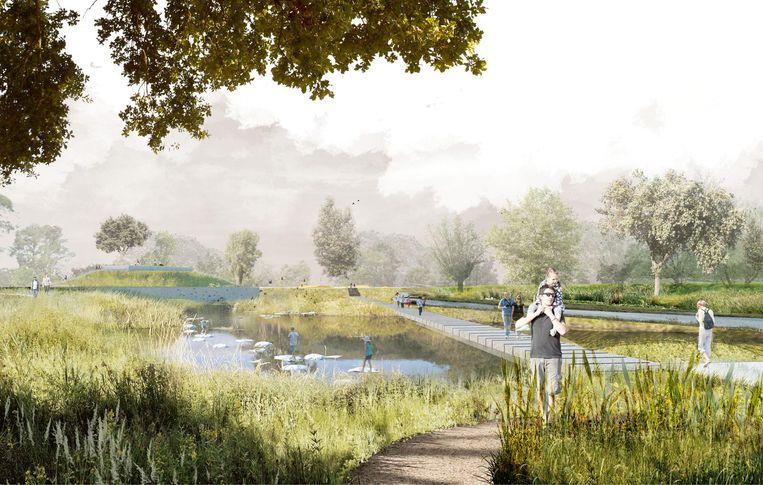 Een simulatiebeeld van hoe het park er zal uitzien. Opvallendste nieuwigheid worden de avontureneilanden: die komen in de huidige vijver die samensmelt met de Demer. De eilanden zullen bereikbaar zijn via een pad over het water.
