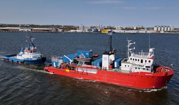 Het Duitse reddinggschip Sea-Eye 4 vertrekt naar de Middellandse Zee. Archiefbeeld.