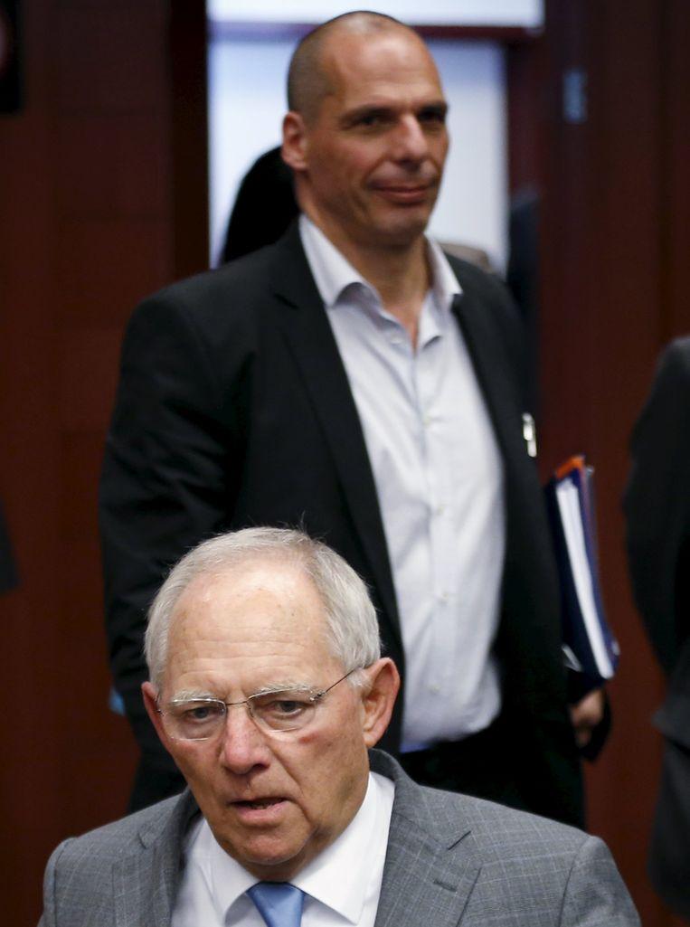Wolfgang Schäuble en Yanis Varoufakis. Beeld REUTERS