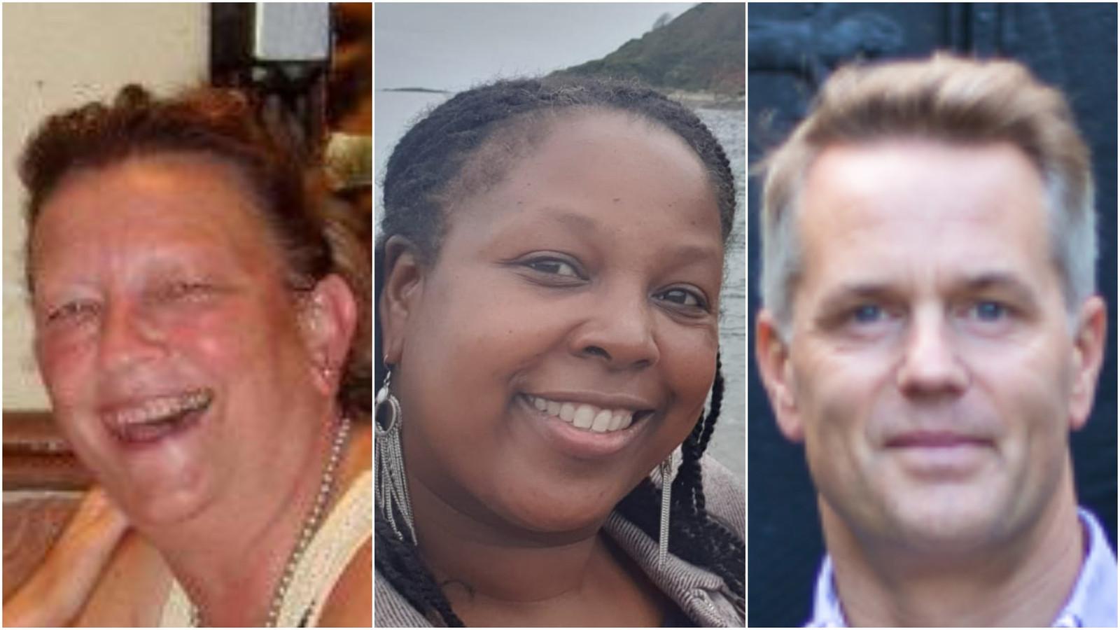 Van links naar rechts de 'Britse Vlamingen' Brit Deckers (63), Patricia Rijsenburg (50) en Jeroen Sourbron (46).