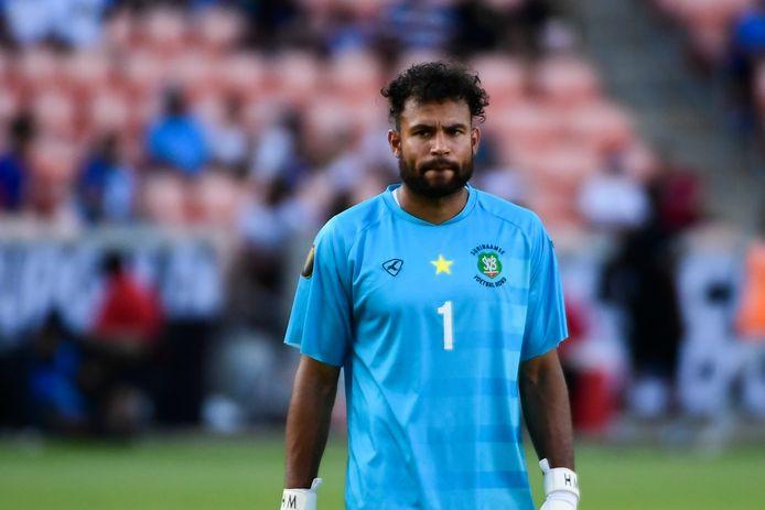 Warner Hahn in het shirt van Suriname tijdens een wedstrijd om de Gold Cup afgelopen maand.