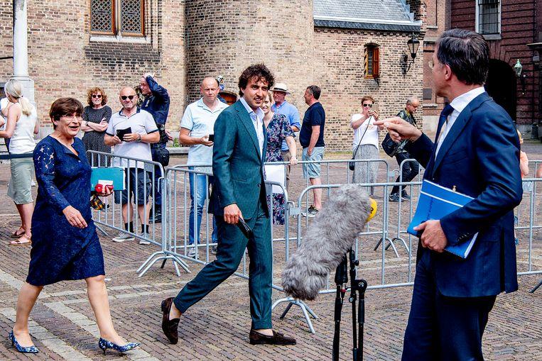 Demissionair premier Mark Rutte samen met Jesse Klaver en Lilianne Ploumen. Beeld Hollandse Hoogte /  ANP