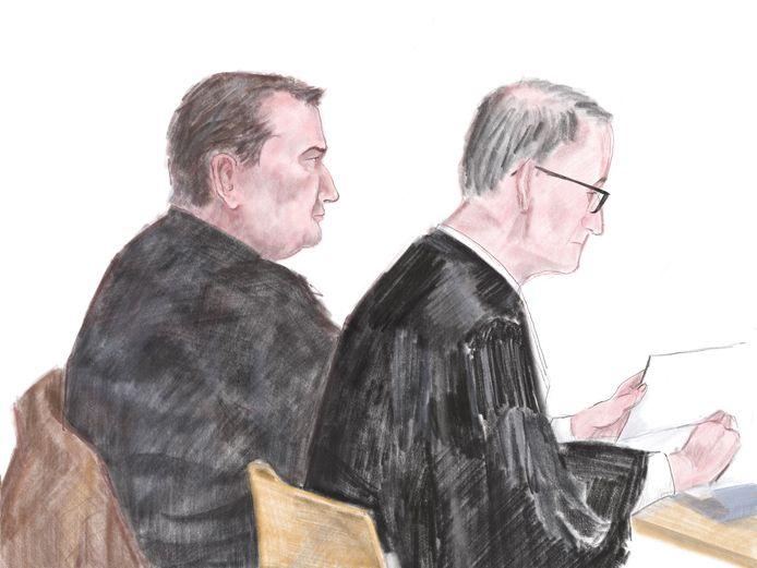 Vincent T. en zijn advocaat Frans Huijbers tijdens de rechtszaak van een jaar geleden.