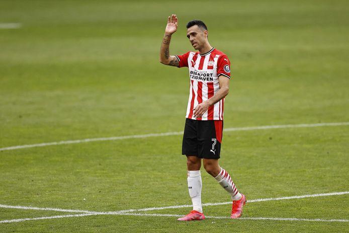 Eran Zahavi maakte een van de vier goals voor PSV tegen PEC.