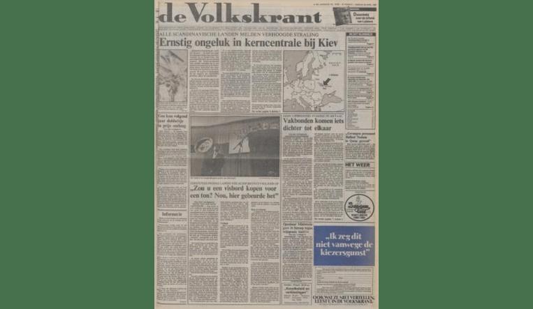 De voorpagina van 29 april 1986. Beeld