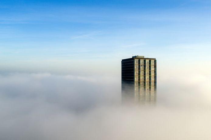 De Westpoint in Tilburg in de mist.