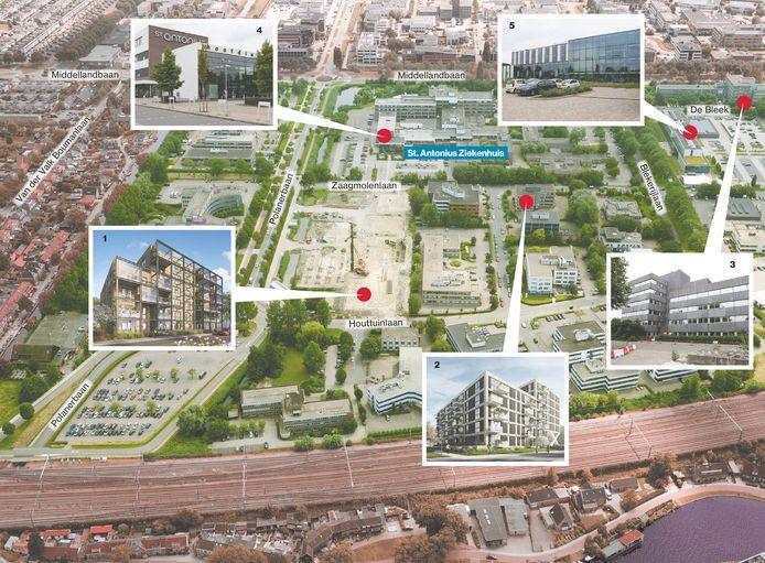 Overzicht van de wijk Middelland en de plannen hiervoor: 1. Houttuin; 2. Molenhoek; 3. Bleek; 4. St. Antoniusziekenhuis; 5. Gemeentehuis Woerden