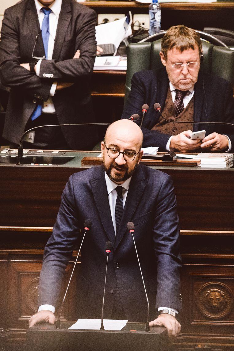 Premier Michel in de Kamer vanmiddag. Beeld Francis Vanhee
