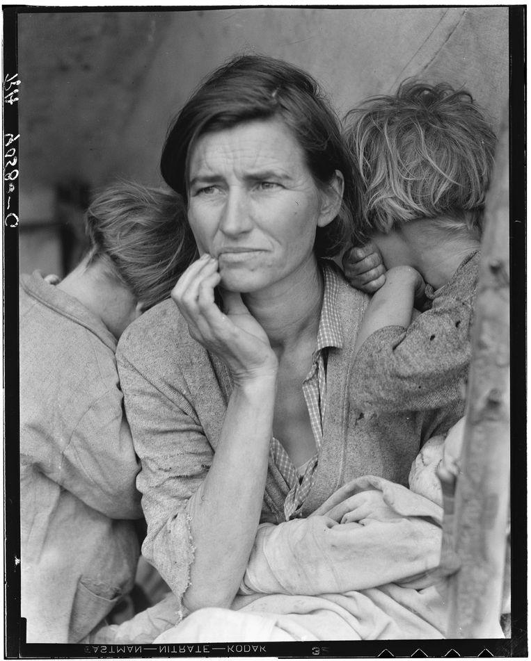 De iconische foto van Florence Owens Thompson. Beeld Library of Congress /  Dorothea Lange