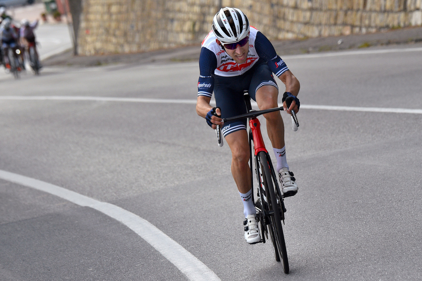 Bauke Mollema in actie tijdens de Trofeo Laigueglia.