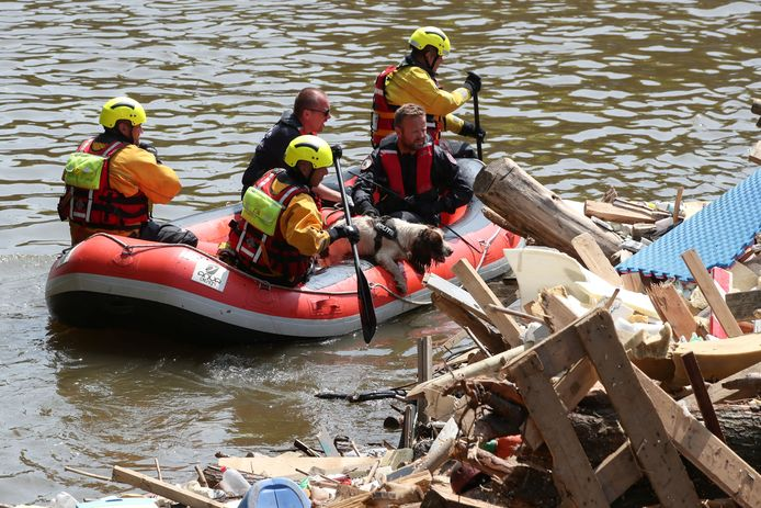 Hulpdiensten varen met hun speurhond rond op zoek naar slachtoffers in Trooz. Ze hopen zo snel mogelijkelke vermiste terug te vinden.