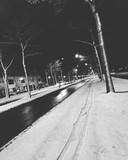 Bandensporen in de sneeuw.
