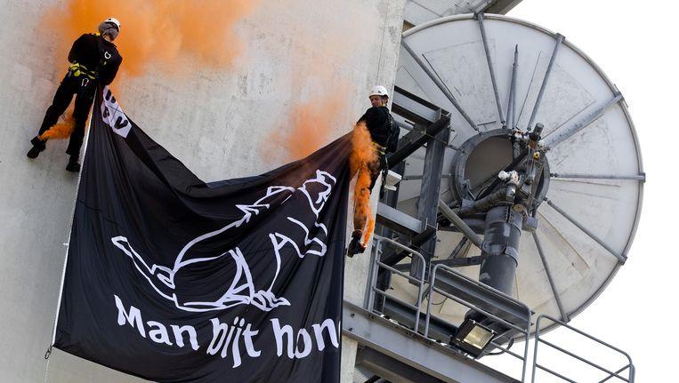 Het beeldmerk van Man Bijt Hond wordt aan de televisietoren in Hilversum aangebracht Beeld anp