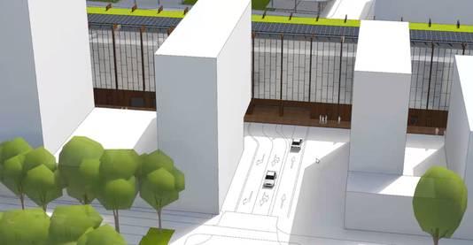 De in- en uitgang van de parkeergarage Zwijsen, over de precieze locatie wordt nog gepraat. Bovenin glas.