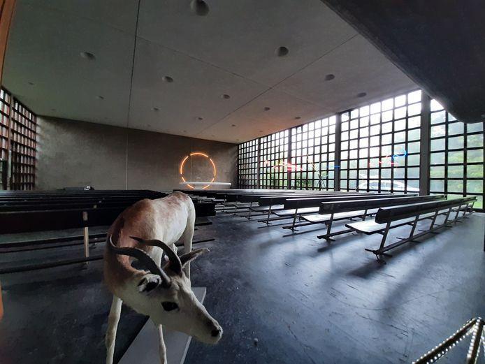 Binnen in de Thomaskerk werkt beeldend kunstenaar Herman Lamers aan andere installaties.