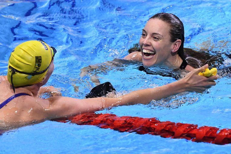 Nooit eerder won Heemskerk op de langebaan een grote medaille. Beeld AFP