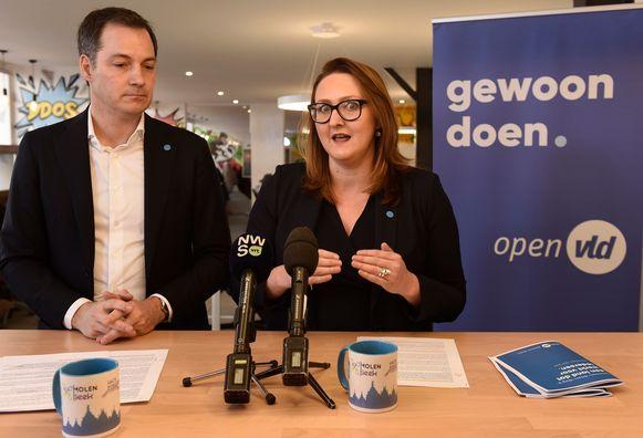 Open Vld-vicepremier Alexander De Croo (lijsttrekker Oost-Vlaanderen Kamer) en partijvoorzitter Gwendolyn Rutten (lijsttrekker Vlaams-Brabant Vlaams parlement).