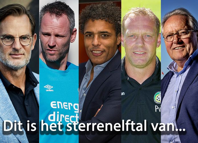 Vlnr: Ronald de Boer, André Ooijer, Pierre van Hooijdonk, Peter van Vossen en Arie Haan.