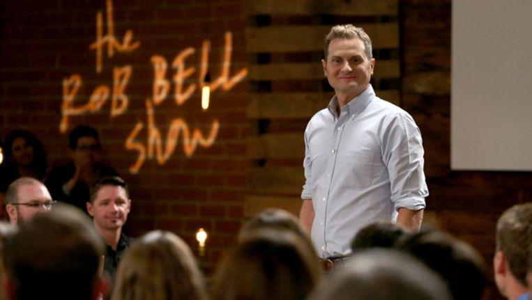 Voorganger Rob Bell bij de opnamen van zijn televisieprogramma. Beeld Harpo Studios