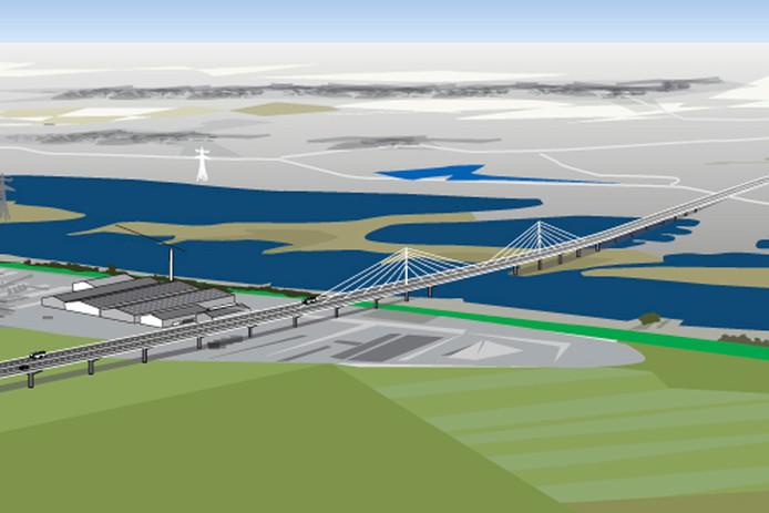 Een illustratie van de brug zoals gepland in de A15 over het Pannerdensch Kanaal. Aan weerszijden van de brug zouden twee windmolens moeten komen.
