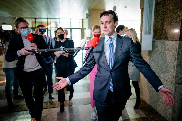 Thierry Baudet (FvD) reageert op de beschuldiging van het versturen van racistische whatsappjes. Beeld ANP