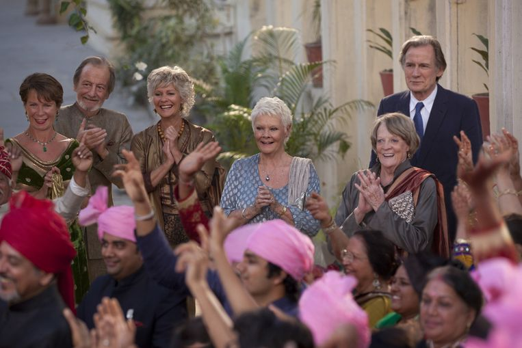 De vertrouwde gasten van the Best Exotic Marigold Hotel. Beeld null