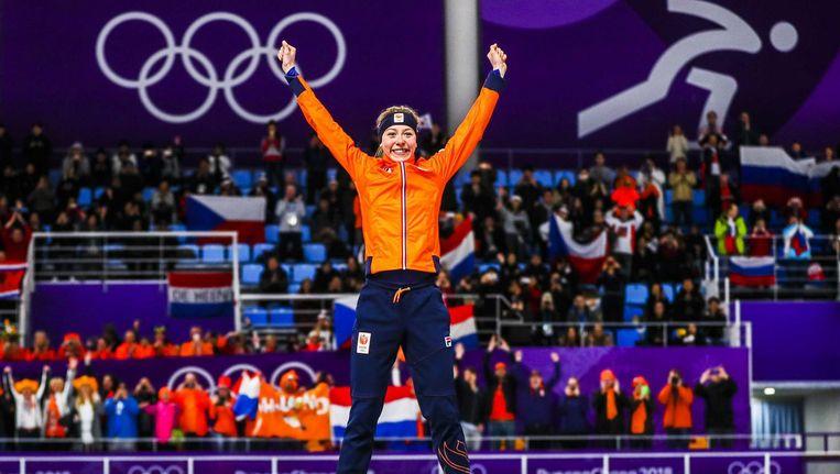 Esmee Visser wint goud op de Winterspelen van Pyeongchang. Beeld anp