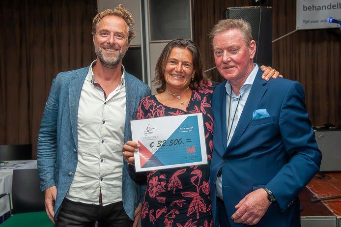 Louis van de Waarsenburg (rechts) reikt de cheque van 32.500 euro uit aan de vertegenwoordigers van Stichting Metakids.